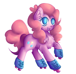 Size: 4374x4290 | Tagged: safe, artist:coco-drillo, pinkie pie, earth pony, pony, chest fluff, colourful, ear fluff, natg2020, roller skates, rollerblades, rolling, simple background, smiling, solo, sports