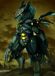 Size: 2550x3509 | Tagged: safe, artist:pridark, oc, oc:phantom mane, anthro, robot, commission, high res, machine, male, scenery, solo, tree
