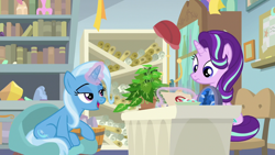 Size: 1920x1080 | Tagged: safe, screencap, phyllis, starlight glimmer, trixie, unicorn, a horse shoe-in