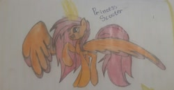 Size: 1360x709   Tagged: artist needed, source needed, safe, scootaloo, alicorn, pony, alicornified, happy, large wings, older, older scootaloo, one hoof raised, pencil drawing, photo, race swap, scootacorn, traditional art, wings