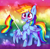 Size: 1334x1300 | Tagged: safe, artist:meqiopeach, color edit, rainbow dash, pegasus, pony, art, big eyes, blushing, chest fluff, cloud, colored, cute, dashabetes, drawing, fanart, flag, messy mane, my little pony, newbie artist training grounds, open mouth, rainbow power, rainbow tail, raised hoof, raised leg, raised tail, simple background, smiling, solo, spread wings, wings