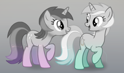 Size: 2651x1584 | Tagged: safe, amethyst star, lyra heartstrings, sparkler, pony, unicorn, duo, gradient background, looking at each other, partial color, show accurate, similarities