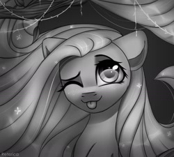 Size: 1669x1500 | Tagged: safe, artist:reterica, fluttershy, pegasus, pony, bust, female, grayscale, happy, leaf, looking at you, mare, monochrome, noir, one eye closed, smiling, solo, tongue out, tree, wink