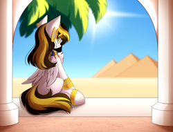 Size: 5241x4001 | Tagged: safe, artist:airiniblock, oc, oc only, unnamed oc, pegasus, pony, desert, ear piercing, earring, egyptian, egyptian pony, female, gold, jewelry, looking at you, looking back, piercing, pyramid, rcf community, sitting, solo