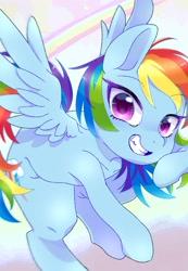 Size: 1414x2048 | Tagged: safe, artist:bbtasu, rainbow dash, pegasus, pony, backwards cutie mark, cute, dashabetes, female, looking at you, mare, smiling, solo