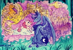 Size: 1280x881 | Tagged: safe, artist:laps-sp, pinkie pie, princess luna, alicorn, earth pony, pony, siren, castle, female, mare, sitting, smiling, traditional art