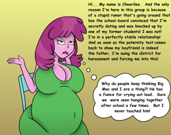 Size: 1700x1341 | Tagged: safe, artist:foxtide888, artist:pacificside18, cheerilee, equestria girls, belly, belly button, big belly, breasts, chair, cleavage, implied big macintosh, pregnant