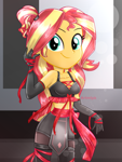 Size: 1800x2400 | Tagged: safe, artist:artmlpk, sunset shimmer, equestria girls, adorable face, adorasexy, adorkable, alternate hairstyle, bare shoulders, beautiful, boots, bow, bra, clothes, costume, crop top bra, cute, design, digital art, dork, evening gloves, female, gloves, high res, kunoichi, long gloves, looking at you, ninja, ninja costume, outfit, pigtails, ponytail, ribbon, sexy, shimmerbetes, shoes, shorts, sleeveless, smiling, smiling at you, socks, solo, sports bra, thigh boots, thigh highs, thighs, underwear, watermark