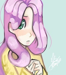 Size: 1280x1451 | Tagged: safe, artist:pingukasane, fluttershy, human, bust, hair over one eye, hands together, humanized, looking at you, portrait, solo, three quarter view