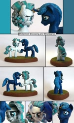Size: 1280x2136 | Tagged: safe, artist:ubrosis, oc, oc:meta sparkle, oc:wintermint snowsong, alicorn, pony, unicorn, craft, female, looking into each others eyes, male, mare, oc x oc, sculpture, shipping, stallion, touching hooves
