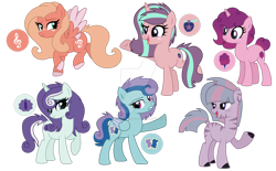 Size: 1280x796 | Tagged: safe, artist:lazuli, artist:nocturne-sol, oc, oc only, earth pony, hybrid, pegasus, pony, unicorn, zony, base used, deviantart watermark, female, interspecies offspring, magical lesbian spawn, mare, obtrusive watermark, offspring, parent:applejack, parent:big macintosh, parent:bon bon, parent:fluttershy, parent:lyra heartstrings, parent:pinkie pie, parent:rainbow dash, parent:rarity, parent:starlight glimmer, parent:sugar belle, parent:twilight sparkle, parent:zecora, parents:fluttermac, parents:glimmerjack, parents:lyrarity, parents:rainbon, parents:sugarpie, parents:twicora, simple background, transparent background, watermark