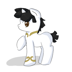 Size: 400x400 | Tagged: safe, artist:ask-pony-gerita, pony, unicorn, colt, hetalia, japan, male, ponified, raised hoof, simple background, smiling, solo, transparent background