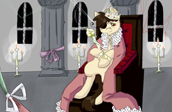 Size: 843x548 | Tagged: safe, artist:ask-pony-gerita, pony, candle, cape, clothes, crown, cuffs (clothes), eyepatch, hetalia, jewelry, king, male, ponified, regalia, romano, scepter, simple background, sitting, solo, stallion, throne, transparent background