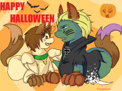 Size: 800x600 | Tagged: safe, artist:ask-pony-gerita, earth pony, pegasus, pony, animal costume, animal ears, ask, clothes, collar, costume, duo, female, germany, happy halloween, hetalia, italy, jewelry, male, mare, necklace, ponified, pumpkin, simple background, smiling, stallion, transparent background