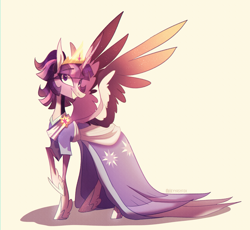 Size: 2072x1906 | Tagged: safe, artist:iheyyasyfox, twilight sparkle, alicorn, pony, the last problem, clothes, coronation dress, crown, cute, dress, female, hoof shoes, jewelry, mare, raised hoof, regalia, second coronation dress, smiling, solo, spread wings, twiabetes, twilight sparkle (alicorn), wings