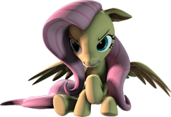 Size: 1280x874 | Tagged: safe, artist:melodiousmarci, fluttershy, pegasus, pony, 3d, angry, artist training grounds 2020, atg 2020, badass, beware the nice ones, floppy ears, flutterbadass, flutterrage, gritted teeth, newbie artist training grounds, revamped ponies, sfm pony, simple background, sitting, solo, source filmmaker, transparent background