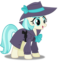 Size: 3373x3515 | Tagged: safe, artist:anime-equestria, coco pommel, earth pony, belt, bow, clothes, costume, detective, female, happy, hat, mare, simple background, solo, transparent background, trenchcoat, vector
