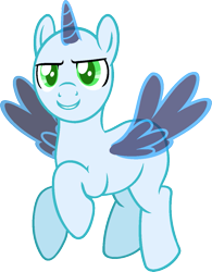 Size: 955x1222 | Tagged: safe, artist:pegasski, oc, oc only, alicorn, pony, newbie dash, alicorn oc, bald, base, flying, horn, simple background, smiling, solo, spread wings, transparent background, wings
