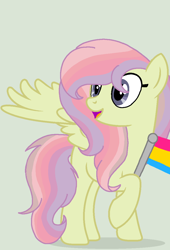 Size: 784x1152 | Tagged: safe, artist:circuspaparazzi5678, oc, oc:rainbow splash, pegasus, pony, base used, female, magical lesbian spawn, multicolored hair, next generation, offspring, pansexual, pansexual pride flag, parent:fluttershy, parent:rainbow dash, parents:flutterdash, pride, pride flag, rainbow hair, smiling, solo