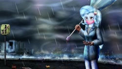 Size: 3840x2160 | Tagged: safe, artist:bloodtoon, trixie, equestria girls, 4k, broke, city, cloud, mask, rain, umbrella, wind