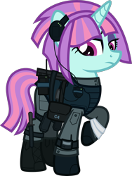 Size: 2000x2656 | Tagged: safe, artist:n0kkun, sunny flare, pony, unicorn, armor, bag, bandage, belt, boots, c4, clothes, commission, equestria girls ponified, eyeshadow, female, gloves, headset, knee pads, knife, makeup, mare, mercenary, pants, ponified, radio, raised hoof, saddle bag, shoes, simple background, solo, transparent background, watch, wristwatch