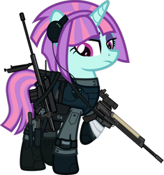 Size: 6000x6383 | Tagged: safe, alternate version, artist:n0kkun, sunny flare, pony, unicorn, ar-57, armor, assault rifle, auto-9, bag, bandage, belt, boots, c4, clothes, cobra assault cannon, commission, equestria girls ponified, eyeshadow, female, gloves, gun, handgun, headset, knee pads, knife, makeup, mare, mercenary, pants, pistol, ponified, radio, raised hoof, rifle, robocop, saddle bag, shoes, simple background, solo, transparent background, watch, weapon, wristwatch