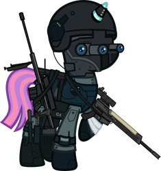 Size: 6000x6385 | Tagged: safe, alternate version, artist:n0kkun, sunny flare, pony, unicorn, ar-57, armor, assault rifle, auto-9, bag, bandage, belt, boots, c4, clothes, cobra assault cannon, commission, equestria girls ponified, eyeshadow, female, gloves, goggles, gun, handgun, headset, helmet, knee pads, knife, makeup, mare, mask, mercenary, night vision goggles, pants, pistol, ponified, radio, raised hoof, rifle, robocop, saddle bag, shoes, simple background, solo, transparent background, watch, weapon, wristwatch