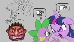 Size: 1920x1080 | Tagged: safe, artist:ponyhell, spike, twilight sparkle, human, pony, angry, atg 2020, food, mane of fire, newbie artist training grounds, pineapple, pizza, rollercoaster tycoon, toilet paper