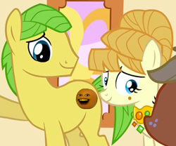 Size: 1296x1080 | Tagged: safe, edit, edited screencap, screencap, applejack, aunt orange, mosely orange, uncle orange, the cutie mark chronicles, abomination, annoying orange, cropped, cursed image, duo focus, female, filly, filly applejack, god is dead, oh god no, this is why we can't have nice things, younger