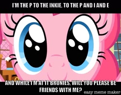 Size: 1534x1201 | Tagged: safe, artist:titus16s, edit, edited screencap, screencap, pinkie pie, earth pony, pony, caption, female, image macro, looking at you, mare, meme, solo, text, twilightlicious