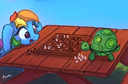 Size: 3196x2101 | Tagged: safe, artist:thefloatingtree, rainbow dash, tank, pegasus, pony, tortoise, atg 2020, chess, duo, female, high res, male, mare, newbie artist training grounds, open mouth, picnic table, shocked expression, signature, table