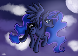 Size: 1500x1080 | Tagged: safe, artist:sadtrooper, princess luna, alicorn, pony, flying, night