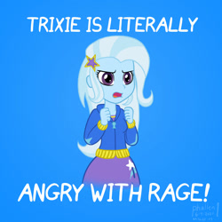 Size: 1000x1000 | Tagged: safe, artist:phallen1, trixie, equestria girls, angry, atg 2020, blue background, female, futurama, meme, newbie artist training grounds, screencap reference, simple background, solo