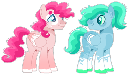 Size: 698x409 | Tagged: safe, artist:kurosawakuro, artist:selenaede, oc, oc only, pegasus, pony, base used, colored pupils, duo, half-siblings, looking at each other, magical lesbian spawn, male, offspring, parent:fluttershy, parent:pinkie pie, parent:rainbow dash, parents:flutterdash, parents:pinkiedash, simple background, smiling, stallion, transparent background