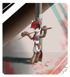 Size: 1246x1383 | Tagged: safe, artist:smg11ddj, oc, oc only, oc:blackjack, cyborg, pony, unicorn, fallout equestria, fallout equestria: project horizons, blood, fanfic art, horn, pipbuck, small horn, solo, standing, sword, weapon
