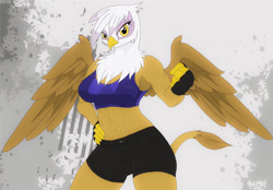 Size: 850x591 | Tagged: safe, artist:q_wed, gilda, anthro, griffon, abs, beak, belly button, breasts, busty gilda, clothes, detailed background, digital art, female, gloves, looking at you, muscles, muscular female, shorts, solo, solo female, sports bra, sports shorts, tail, wings