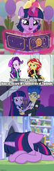 Size: 500x1560 | Tagged: safe, edit, edited screencap, screencap, flash sentry, starlight glimmer, sunset shimmer, twilight sparkle, alicorn, pony, equestria girls, memories and more, mirror magic, rainbow rocks, the ending of the end, the last problem, spoiler:eqg specials, spoiler:memories and more, book, clothes, coronation dress, dress, oops, scrapbook, second coronation dress, twilight sparkle (alicorn)
