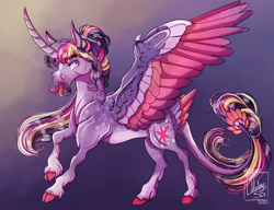 Size: 2740x2108 | Tagged: safe, artist:pegasus004, twilight sparkle, alicorn, cloven hooves, colored hooves, colored wings, curved horn, horn, redesign, solo, twilight sparkle (alicorn), wing claws, wings