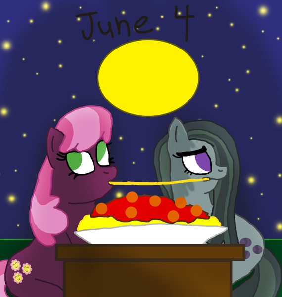 2366406 Safe Artist Horroraceman93 Cheerilee Marble Pie Female Lady And The Tramp Lesbian Marbilee Night Pride Month Shipping Spaghetti Scene Derpibooru