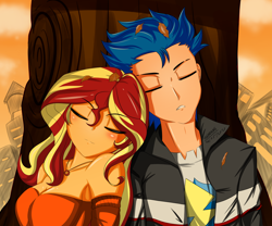 Size: 3000x2494 | Tagged: safe, artist:trainbang, flash sentry, sunset shimmer, equestria girls, breasts, busty sunset shimmer, eyes closed, female, flashimmer, leaf, male, shipping, straight, tree