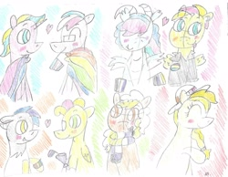 Size: 1891x1464 | Tagged: safe, artist:ptitemouette, oc, oc:calm sunset, oc:fire thunder, oc:honey moon, oc:honeycrisp, oc:modesty, oc:nova, oc:orange smoothie, oc:tulip bloosom, hybrid, asexual, bisexual, female, gay, interspecies offspring, lesbian, magical lesbian spawn, male, nonbinary, oc x oc, offspring, pansexual, parent:apple bloom, parent:derpy hooves, parent:diamond tiara, parent:discord, parent:fluttershy, parent:pinkie pie, parent:princess celestia, parent:princess ember, parent:princess luna, parent:rarity, parent:roseluck, parent:spitfire, parent:starlight glimmer, parent:sunburst, parent:sunset shimmer, parent:twilight sparkle, parents:derpyluck, parents:diamondbloom, parents:emberlestia, parents:pinkieburst, parents:raricord, parents:shimmerglimmer, parents:spitshy, parents:twiluna, shipping, transgender