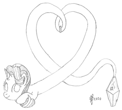 Size: 1329x1200 | Tagged: safe, artist:parclytaxel, starlight glimmer, genie, genie pony, series:nightliner, bottle, bracelet, heart, jewelry, lineart, long glimmer, long pony, looking at you, monochrome, pencil drawing, smiling, solo, traditional art