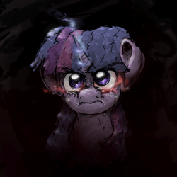 Size: 2000x2000 | Tagged: safe, artist:th3ipodm0n, twilight sparkle, pony, angry, atg 2020, bust, female, full face view, glowing eyes, glowing horn, horn, looking at you, mare, newbie artist training grounds, rage, solo, teary eyes
