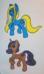 Size: 1914x3171 | Tagged: safe, artist:dice-warwick, oc, oc:puppet strings, oc:victoria rosary, earth pony, unicorn, fallout equestria, fallout equestria: desperados, fangs, traditional art
