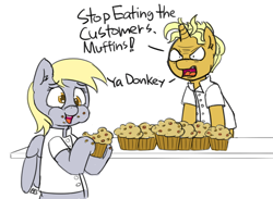 Size: 800x586 | Tagged: safe, artist:pabbley, edit, derpy hooves, gourmand ramsay, pegasus, pony, unicorn, alternate name, angry, cute, eating, female, food, gordon ramsay, grammar, mare, minor edit, muffin, ponified, that pony sure does love muffins, yelling