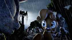 Size: 1280x720 | Tagged: source needed, safe, artist:flipchip, oc, oc only, oc:wisp chaser, earth pony, zebra, fallout equestria, 3d, doctor who, rain, statue, weeping angel, weeping angels