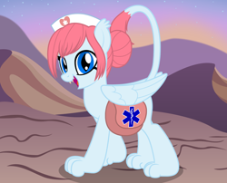Size: 2368x1918 | Tagged: safe, artist:badumsquish, derpibooru exclusive, oc, oc only, oc:first-aid kit, sphinx, bag, female, folded wings, hair bun, happy, hat, looking at you, mountain, mountain range, nurse, nurse hat, raised tail, saddle bag, sharp teeth, show accurate, smiling, solo, sphinx oc, stars, tail, teeth, wings