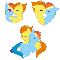 Size: 2000x2000   Tagged: safe, alternate version, artist:icey-wicey-1517, artist:urzhumdraw, color edit, edit, rainbow dash, spitfire, pegasus, pony, collaboration, colored, cuddling, eyes closed, female, hug, kissing, lesbian, mare, one eye closed, shipping, simple background, sleeping, spitdash, transparent background, wink