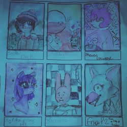 Size: 1080x1080   Tagged: safe, artist:vientosensualowo, twilight sparkle, anthro, human, pony, rabbit, unicorn, six fanarts, 31 minutos, animal, animatronic, anthro with ponies, bust, clothes, countryhumans, crossover, female, five nights at freddy's, hat, male, mangle, mare, poland, south park, stan marsh, steven universe, traditional art, unicorn twilight
