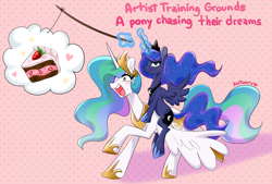 Size: 3008x2032 | Tagged: safe, artist:kaikururu, princess celestia, princess luna, alicorn, pony, atg 2020, cake, cakelestia, dream, duo, female, fishing rod, food, heart, high res, looking at you, mare, newbie artist training grounds, open mouth, ponies riding ponies, riding, royal sisters, sibling teasing, siblings, sisters, smugluna, stick